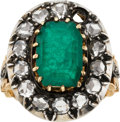 Estate Jewelry:Rings, Antique Emerald, Diamond, Silver-Topped Gold Ring. ...