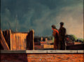 Fine Art - Painting, American:Contemporary   (1950 to present)  , HUGHIE LEE-SMITH (American, 1915-1999). Rooftop and LandscapeStudy with Figure: A Double-Sided Work, circa 1952-1957. O...