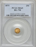 California Fractional Gold, 1875 25C Indian Octagonal 25 Cents, BG-798, Low R.5, MS65 PCGS....