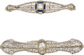 Estate Jewelry:Brooches - Pins, Diamond, Synthetic Sapphire, White Gold Brooches. ...