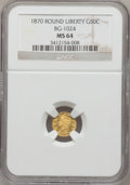 California Fractional Gold, 1870 50C Liberty Round 50 Cents, BG-1024, Low R.4, MS64 NGC....