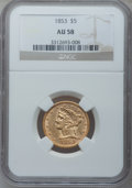 Liberty Half Eagles: , 1853 $5 AU58 NGC. NGC Census: (151/84). PCGS Population (35/67).Mintage: 305,770. Numismedia Wsl. Price for problem free N...