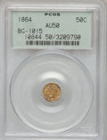 California Fractional Gold, 1864 50C Liberty Round 50 Cents, BG-1015, R.7, AU50 PCGS....