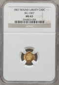 California Fractional Gold, 1867 50C Liberty Round 50 Cents, BG-1007, High R.4, MS65 NGC....