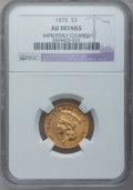 Three Dollar Gold Pieces: , 1878 $3 --Improperly Cleaned-- NGC Details. AU. NGC Census:(61/5076). PCGS Population (198/4960). Mintage: 82,304. Numismed...