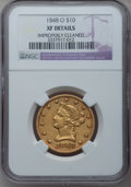 Liberty Eagles: , 1848-O $10 --Improperly Cleaned-- NGC Details. XF. NGC Census:(25/129). PCGS Population (24/68). Mintage: 35,850. Numismedi...