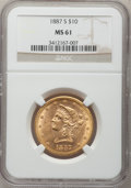Liberty Eagles: , 1887-S $10 MS61 NGC. NGC Census: (501/541). PCGS Population(353/346). Mintage: 817,000. Numismedia Wsl. Price for problem ...