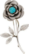 Estate Jewelry:Brooches - Pins, Turquoise, White Gold Brooch. ...