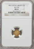 California Fractional Gold, 1853 $1 Liberty Octagonal 1 Dollar, BG-530, R.2, MS61 NGC....