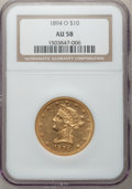 Liberty Eagles: , 1894-O $10 AU58 NGC. NGC Census: (267/269). PCGS Population(68/164). Mintage: 107,500. Numismedia Wsl. Price for problem f...