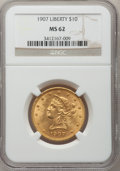 Liberty Eagles: , 1907 $10 MS62 NGC. NGC Census: (9402/6640). PCGS Population(6605/3963). Mintage: 1,203,973. Numismedia Wsl. Price for prob...