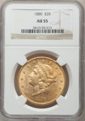 Liberty Double Eagles: , 1880 $20 AU55 NGC. NGC Census: (78/168). PCGS Population (52/62).Mintage: 51,456. Numismedia Wsl. Price for problem free N...