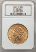 Liberty Double Eagles: , 1881-S $20 MS61 NGC. NGC Census: (190/68). PCGS Population(176/141). Mintage: 727,000. Numismedia Wsl. Price for problem f...