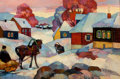 Paintings, ANDREI KIORESKU (Russian, b. 1964). Winter Evening in the Village, 1997. Oil on canvas . 22-1/2 x 35 inches (57.2 x 88.9...