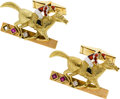 Estate Jewelry:Cufflinks, Diamond, Ruby, Gold Cuff Links. ...