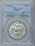 Commemorative Silver: , 1938-D 50C Arkansas MS66 PCGS. PCGS Population (105/19). NGCCensus: (42/9). Mintage: 3,155. Numismedia Wsl. Price for prob...