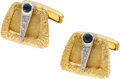 Estate Jewelry:Cufflinks, Diamond, Sapphire, Gold Cuff Links. ...