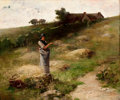 J. CHARLES ARTER (American, 1860-1923) The Hay Gatherer Oil on canvas 23-1/2 x 28-3/4 inches (59