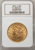Liberty Double Eagles: , 1890-S $20 MS62 NGC. NGC Census: (360/83). PCGS Population(474/169). Mintage: 802,750. Numismedia Wsl. Price for problem f...