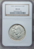 Commemorative Silver: , 1939 50C Arkansas MS64 NGC. NGC Census: (201/133). PCGS Population(241/172). Mintage: 2,104. Numismedia Wsl. Price for pro...