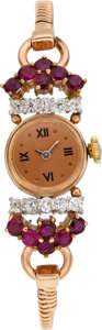 Estate Jewelry:Watches, Retro Lady's Diamond, Ruby, Pink Gold Wristwatch. ...