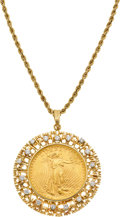 Estate Jewelry:Necklaces, US Gold Coin, Diamond, Gold Pendant-Necklace. ...