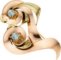 Estate Jewelry:Brooches - Pins, Retro Blue Zircon, Gold Brooch. ...