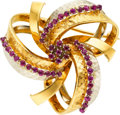 Estate Jewelry:Brooches - Pins, Ruby, Gold Brooch. ...