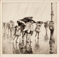 Fine Art - Work on Paper:Drawing, MARTIN LEWIS (American, 1881-1962). Wet Saturday, 1920.Drypoint on paper . 10 x 10-1/2 inches (25.4 x 26.7 cm). Signed ...