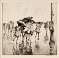 MARTIN LEWIS (American, 1881-1962) Wet Saturday, 1920 Drypoint on paper 10 x 10-1/2 inches (25.4