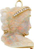 Estate Jewelry:Cameos, Opal Cameo, Diamond, Gold Pendant-Brooch, Underwood's. ...