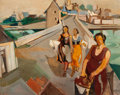 Fine Art - Painting, European:Contemporary   (1950 to present)  , FRENCH/BELGIAN SCHOOL (20th Century) . Three Women on a Road from the Mill, 1957. Oil on canvas. 28 x 35-1/2 inches (71....
