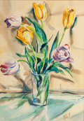 Fine Art - Painting, American:Contemporary   (1950 to present)  , LOIS MAILOU JONES (American, 1905-1998). Floral Still Life,1944. Watercolor on paper. 19 x 13 inches (48.3 x 33.0 cm). ...
