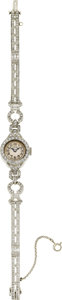 Estate Jewelry:Watches, Patek Philippe Lady's Diamond, Platinum Wristwatch, circa 1950. ...