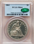 Proof Seated Dollars: , 1861 $1 PR64 PCGS. CAC. PCGS Population (22/8). NGC Census:(21/62). Mintage: 1,000. Numismedia Wsl. Price for problem free...