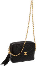 Luxury Accessories:Bags, Chanel Black Lambskin Leather Diamond Quilted Camera Bag. ...