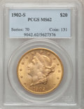 Liberty Double Eagles: , 1902-S $20 MS62 PCGS. PCGS Population (1253/611). NGC Census:(1314/329). Mintage: 1,753,625. Numismedia Wsl. Price for pro...
