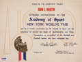 "Autographs:Others, 1940 Babe Ruth Signed ""Academy of Sports"" Certificate...."