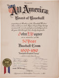 "Autographs:Others, 1951 Honus Wagner ""Baseball's Greatest Lineup"" Presentational Certificate...."