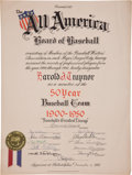 "Autographs:Others, 1951 Pie Traynor ""Baseball's Greatest Lineup"" PresentationalCertificate...."