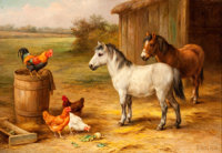 EDGAR HUNT (British, 1876-1953) Barnyard Scene, 1931 Oil on canvas 11 x 16 inches (27.9 x 40.6 c