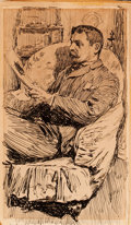 Fine Art - Work on Paper:Drawing, ANDERS LEONARD ZORN (Swedish, 1860-1920). Portrait of a ManReading in a Den, circa 1890. Pen and ink on paper laid on p...