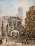 Fine Art - Work on Paper:Watercolor, PROPERTY FROM A PROMINENT COLLECTION, BALTIMORE, MARYLAND. LOUISERAYNER (British, 1829-1924). Temple Bar. Watercolor ...