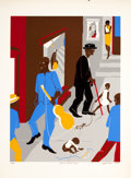 American:Modern, JACOB LAWRENCE (American, 1917-2000). People in Other Rooms (Harlem Street Scene), 1975. Color screenprint. 24-1/2 x 18-...