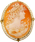Estate Jewelry:Cameos, Shell Cameo, Gold Pendant-Brooch. ...