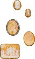 Estate Jewelry:Cameos, Shell Cameo Ring and Pendant-Brooch Lot. ...