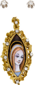 Estate Jewelry:Suites, Diamond, Painted Cameo, Gold Jewelry Suite. ...