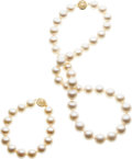 Estate Jewelry:Suites, Freshwater Cultured Pearl, Gold Jewelry Suite. ...