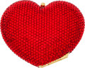Luxury Accessories:Bags, Kathrine Baumann Bright Red Full Bead Heart Mini Minaudiere EveningBag. ...