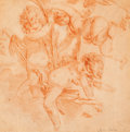 Fine Art - Work on Paper:Drawing, School of FRANÇOIS BOUCHER (French, 1703-1770). Putti inFlight. Red chalk on buff laid paper mounted on cardboard. 9 x...